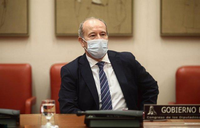 El ministre de Justícia, Juan Carlos Camp, compareix en Comissió de Justícia al Congrés dels Diputats, a Madrid (Espanya), a 21 de desembre de 2020.