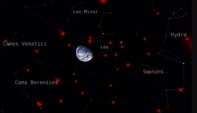 Esta imagen muestra a la Tierra rodeada por las enanas marrones más cercanas, mostradas en rojo, contra el telón de fondo de las constelaciones circundantes.