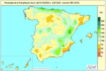 Las precipitaciones de 'Filomena' reducen la falta de lluvias acumulada desde octubre hasta el 7%