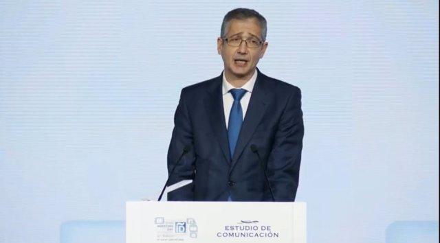 El gobernador del Banco de España, Pablo Hernández de Cos, en Spain Investors Day.