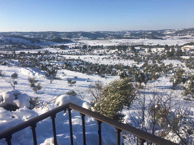 Vista del municipio de Horta de Sant Joan (Tarragona) tras el temporal 'Filomena'.