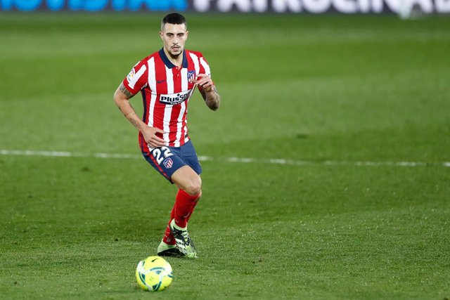 Mario Hermoso of Atletico de Madrid in action during the spanish league, La Liga Santander, football match played between Real Madrid and Atletico de Madrid at Ciudad Deportiva Real Madrid on december 12, 2020, in Valdebebas, Madrid, Spain