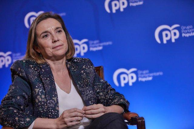 La portaveu del PP al Congrés, Cuca Gamarra, en una entrevista  d'Europa Press. Madrid (Espanya), 30 de desembre del 2020.
