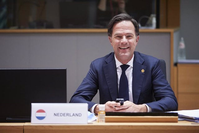 HANDOUT - 11 December 2020, Belgium, Brussels: Dutch Prime Minister Mark Rutte attends a round table meeting at the two days face-to-face European Council summit. Photo: Mario Salerno/EU Council/dpa - ATTENTION: editorial use only and only if the credit m