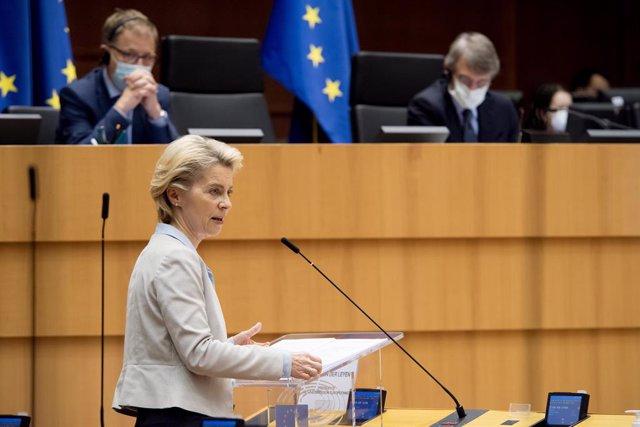 Ursula Von Der Leyen, en una comparecencia en el Parlamento Europeo, en Bruselas