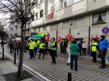 Los trabajadores de Ambuibérica protestan para visbilizar la huelga