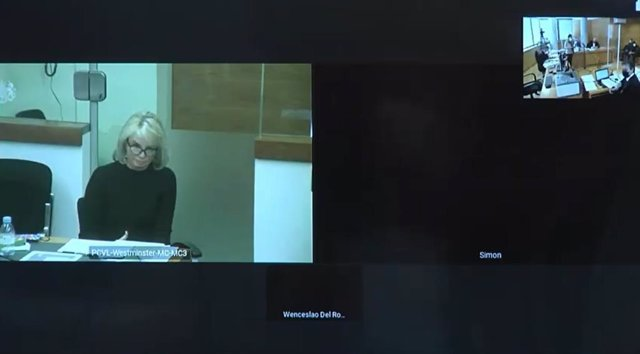 Declaración por videoconferencia de Corinna Larsen en el juicio contra el comisario jubilado y en prisión provisional José Manuel Villarejo.
