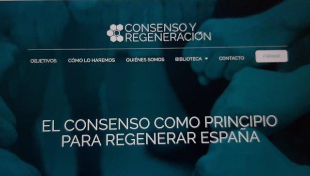 Página web de la platforma cívic Consenso y Regeneración