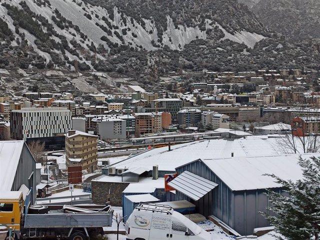 Vista de Andorra la Vella después de una nevada, en una imagen de archivo