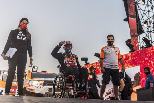 El piloto español Isidre Esteve en el Rally Dakar 2021