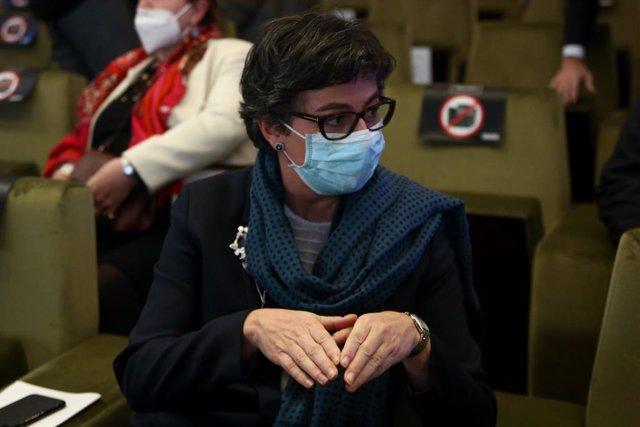 La ministra de Asuntos Exteriores, Unión Europea y Cooperación, Arancha González Laya durante la clausura de la XI edición del Spain Investors Day, en el Auditorio El Beatriz, en Madrid (España), a 14 de enero de 2021. El evento tiene como objetivo genera