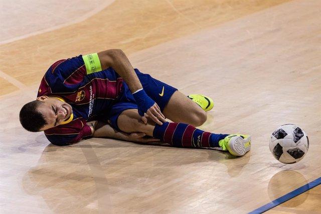 Sergio Lozano of Fc Barcelona gestures during the UEFA FUTSAL Champions League, round of 1/16th, match between Fc Barcelona Futsal and FC Prishtina at Palau Blaugrana on January 15, 2021 in Barcelona, Spain.