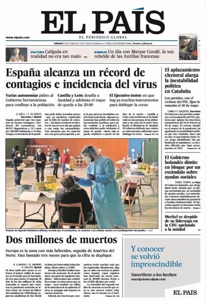 Las portadas de los periódicos del sábado 16 de enero de 2021