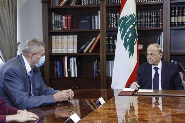 Jan Kubis, a la izquierda, con el presidente de Líbano, Michel Aoun