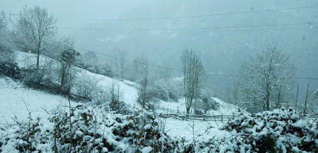 Imagen de archivo de nieve en Asturias