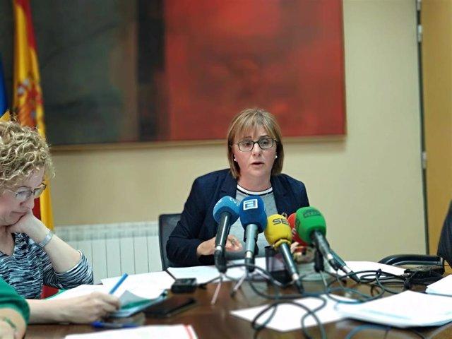 Pilar Varela en una rueda de prensa.