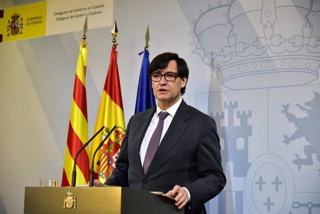 El ministro de Sanidad, Salvador Illa, interviene durante una comparecencia convocada ante los medios para hacer seguimiento de la pandemia por Covid-19, en Barcelona, Catalunya, (España), a 16 de enero de 2021.