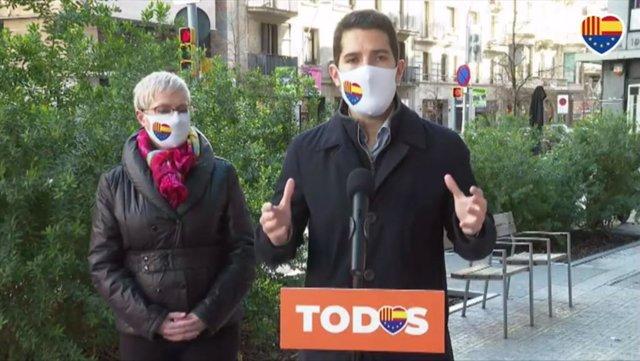 El diputado de Cs en el Parlament, Nacho Martín Blanco, y la número dos de Cs a las elecciones catalanas, Anna Grau.