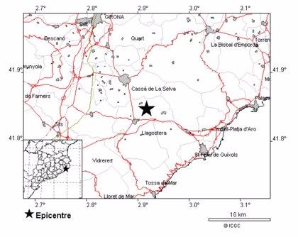 Registran un terremoto de 3,3 grados con epicentro en Cassà de la Selva (Girona)