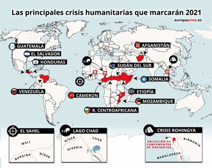 Las 15 principales crisis humanitarias que marcarán 2021