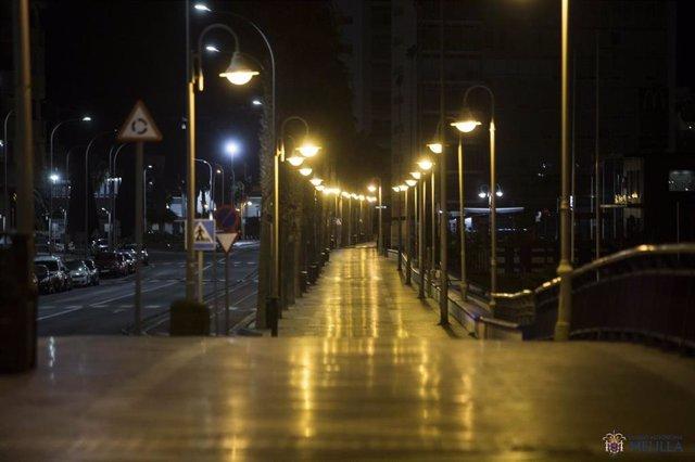 Imagen de archivo de confinamiento nocturno en Melilla