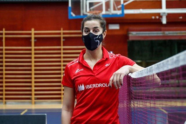 La campeona olímpica Carolina Marín en la presentación del Mundial de Bádminton de Huelva 2021 en el CSD.