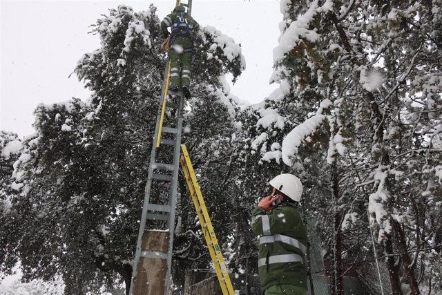 Operarios de Iberdrola solucionando problemas de luz