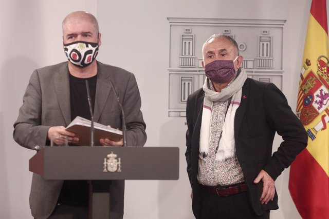 El secretari general de CC.OO., Unai Sord, i el secretari general d'UGT, Pepe Álvarez, en una imatge d'arxiu