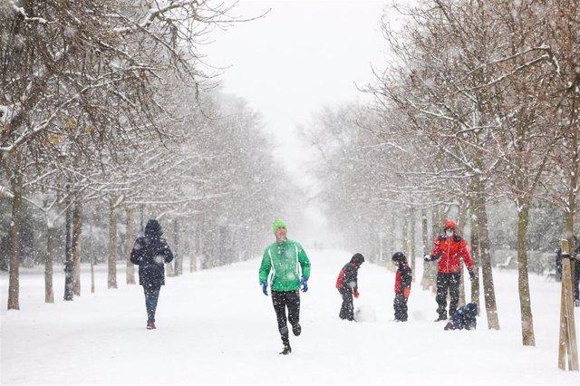 Parque del Retiro en Madrid durante la nevada del temporal 'Filomena'