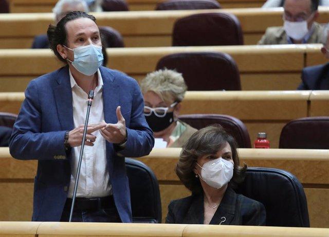 El vicepresidente de Derechos Sociales y Agenda 2030, Pablo Iglesias, interviene durante una sesión de control al Gobierno en el Senado, en Madrid (España), a 3 de noviembre de 2020.