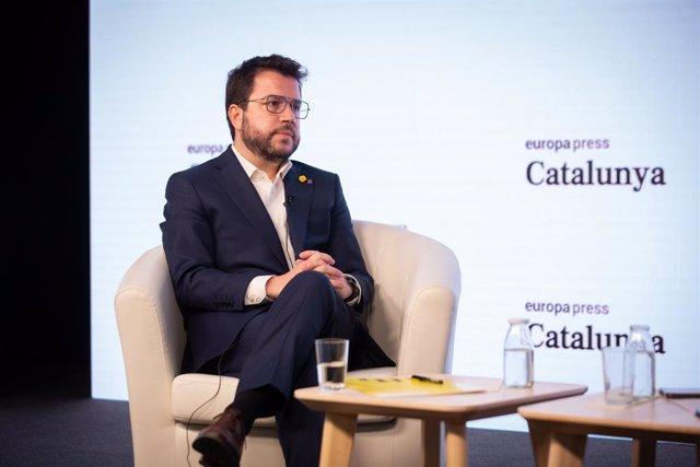 El vicepresident en funcions de president de la Generalitat i candidat d'ERC a la presidència de la Generalitat, Pere Aragonès protagonitza una trobada digital d'Europa Press. Barcelona, Catalunya (Espanya), 18 de gener del 2021.