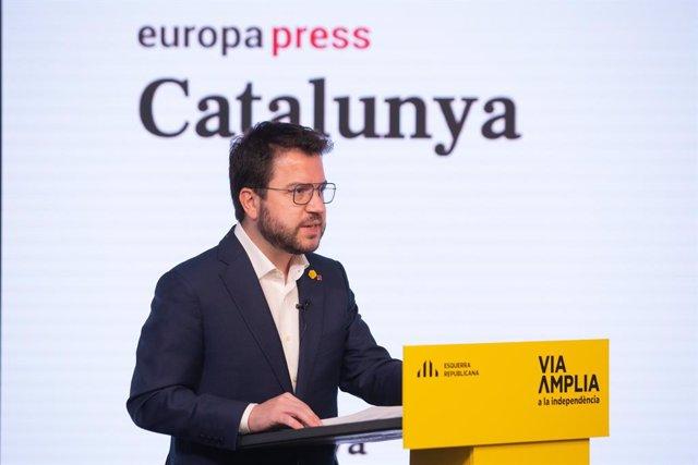 El vicepresident en funcions de president de la Generalitat i candidat d'ERC a la presidència, Pere Aragonès protagonitza una trobada digital d'Europa Press. Catalunya (Espanya), 18 de gener del 2021.