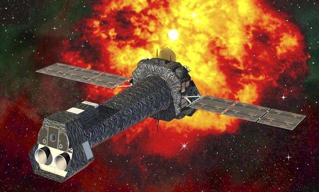 Una representación artística del telescopio espacial XMM-Newton (misión multiespejo de rayos X)