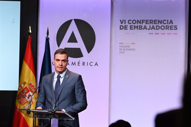El presidente del Gobierno, Pedro Sánchez, interviente ante la Conferencia de Embajadores