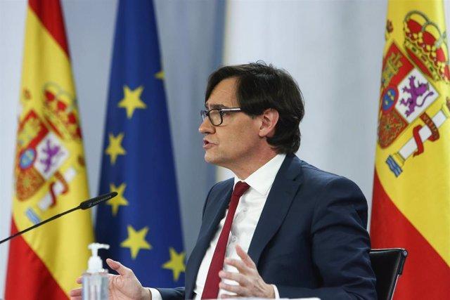 El ministro de Sanidad, Salvador Illa, comparece en rueda de prensa, tras la reunión del Consejo Interterritorial del Sistema Nacional de Salud, en Moncloa, Madrid (España), a 13 de enero de 2021.