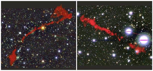 Dos radiogalaxias gigantes encontradas con el telescopio MeerKAT
