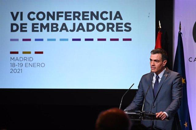 El presidente del Gobierno, Pedro Sánchez, durante el acto de inauguración de la Conferencia de Embajadores 2021
