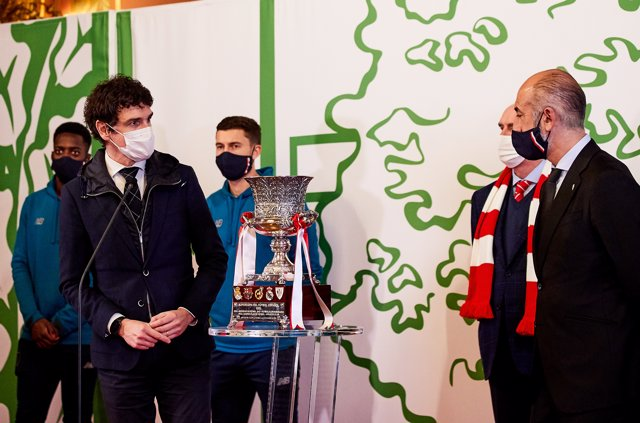Aitor Elizegui, president of Athletic Club during the arrival of the Athletic Club de Bilbao at Diputacion of Bizkaia in Bilbao