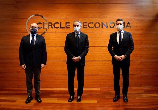 El president del PP, Pablo Casado, en una conferència del Cercle d'Economia de Barcelona.