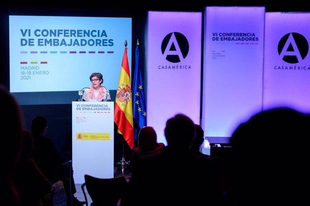 La ministra de Asuntos Exteriores, UE y Cooperación, Arancha González Laya, en la Conferencia de Embajadores