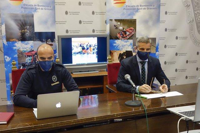 El jefe de Bomberos, Gustavo Molino, y el edil de Seguridad Ciudadana, César Díaz