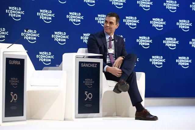 El  presidente del Gobierno, Pedro Sánchez durante su intervención en el Foro Económico Mundial, en Davos (Suiza) en enero de 2020.