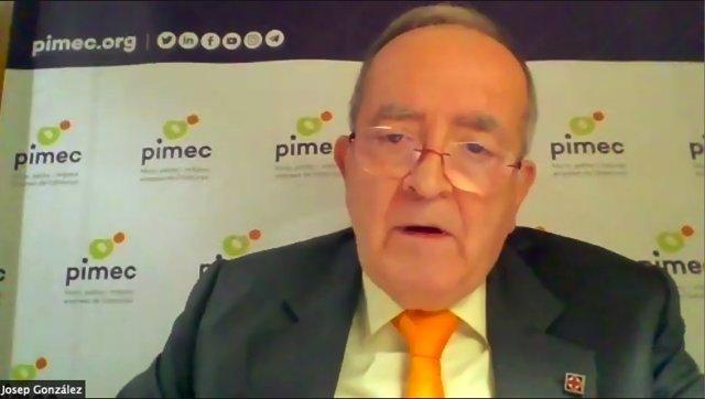 Josep González, president de Pimec en una conferència telemàtica