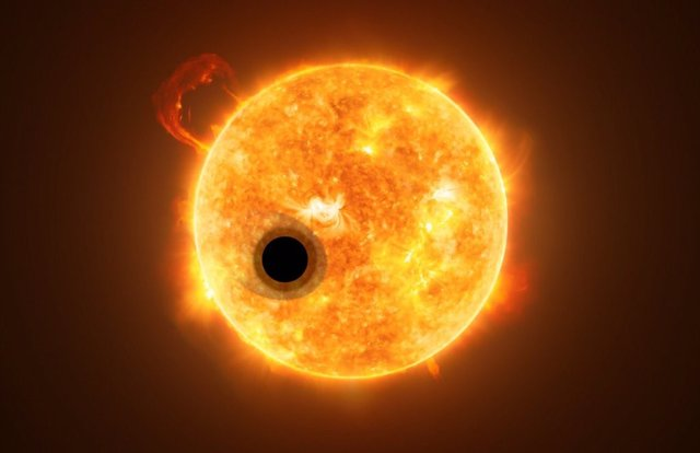 Recreación de WASP-107b junto a su estrella