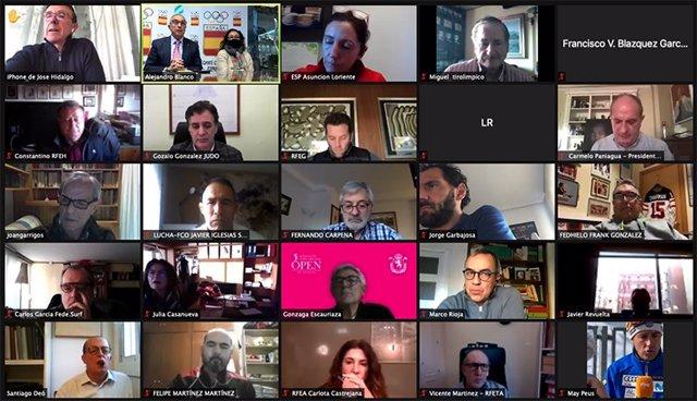 Imagen de la reunión telemática entre Alejandro Blanco y las Federaciones Olímpicas españolas