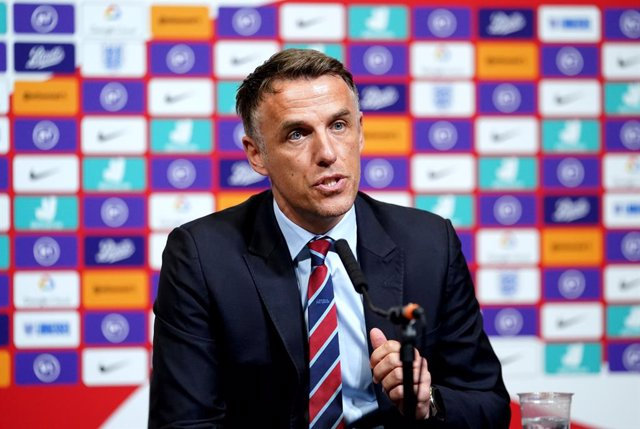 FILED - 18 February 2020, England, London: English women's national football team coach Phil Neville speaks during the press conference at Wembley Stadium. England women's coach Phil Neville is set to stand down when his contract expires next summer, the