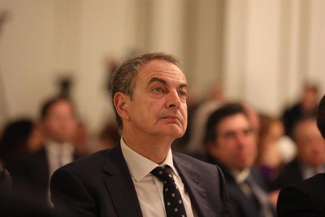 El expresidente del Gobierno José Luis Rodríguez Zapatero durante un desayuno informativo celebrado en el Hotel Westin Palace ubicado en la Plaza de las Cortes, en Madrid (España), a 24 de febrero de 2020.