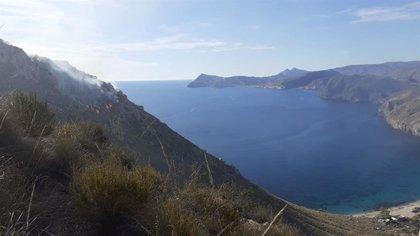 Extinguido el incendio forestal en el paraje de la cala de San Pedro en Níjar (Almería)