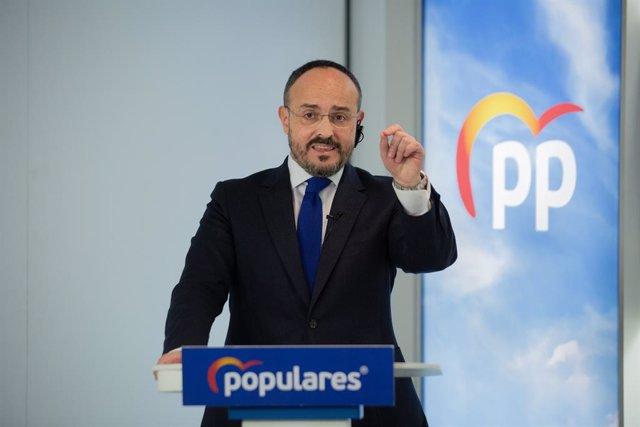 El president del PP català i candidat del PP a la presidència de la Generalitat, Alejandro Fernández