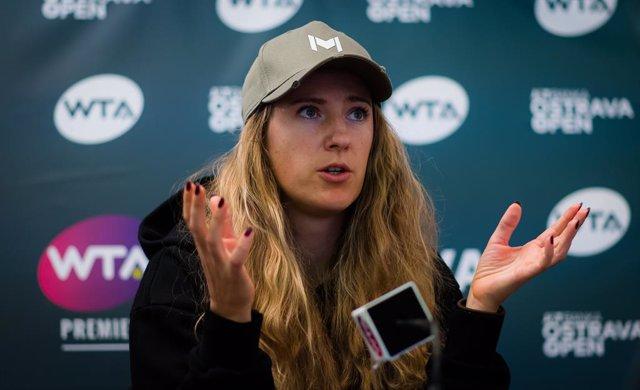 Victoria Azarenka of Belarus talks to the media after reaching the at the 2020 J&T Banka Ostrava Open WTA Premier tennis tournament against Maria Sakkari of Greece